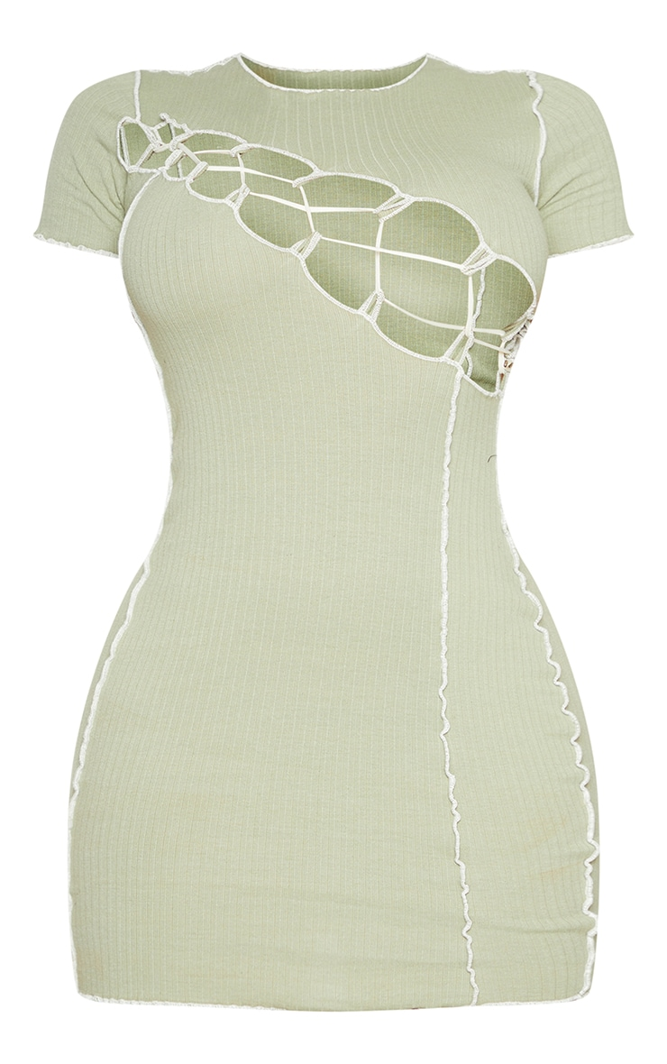 Shape Sage Green Thick Rib Contrast Stitch Rope Detail Bodycon Dress 5