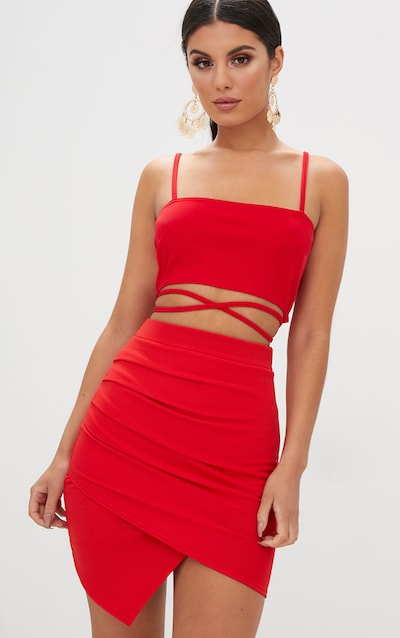 2d913b064c Red Ruched Wrap Mini Skirt