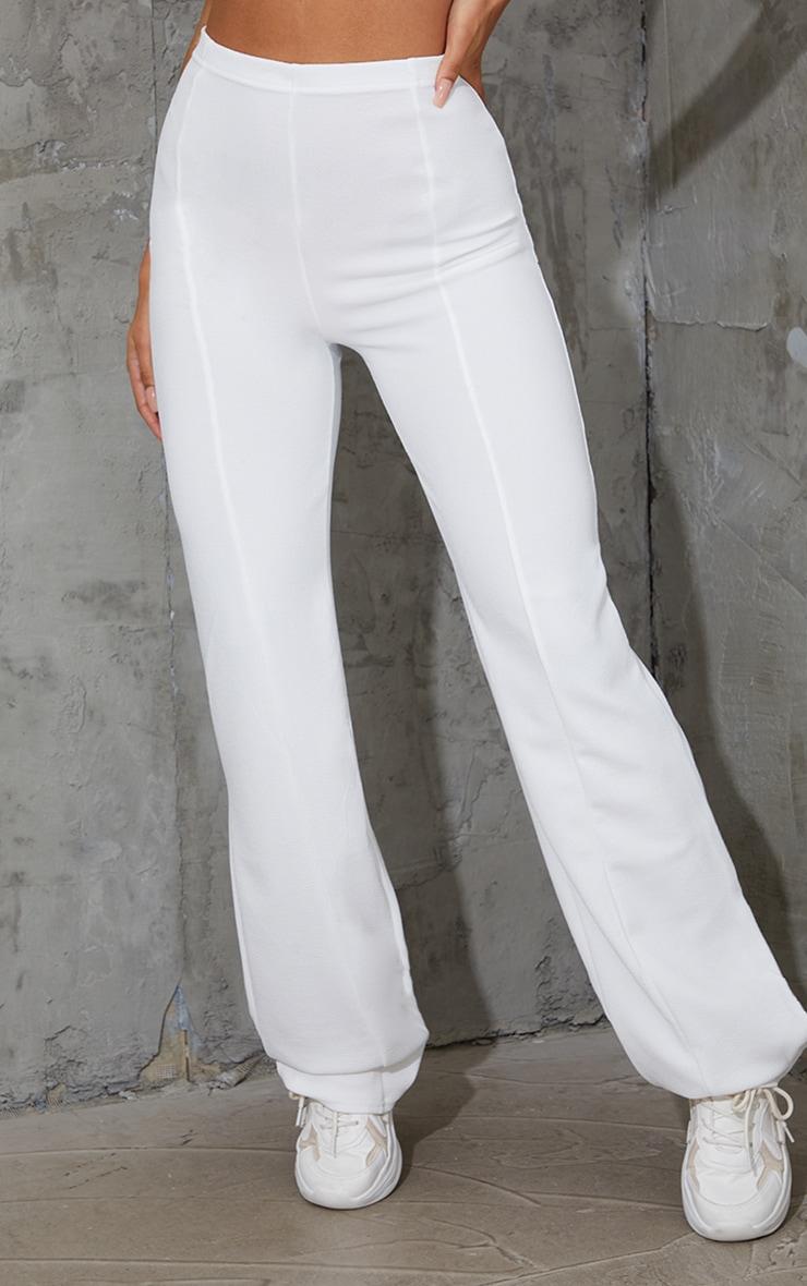 White Crepe Seam Front Wide Leg Trousers 2