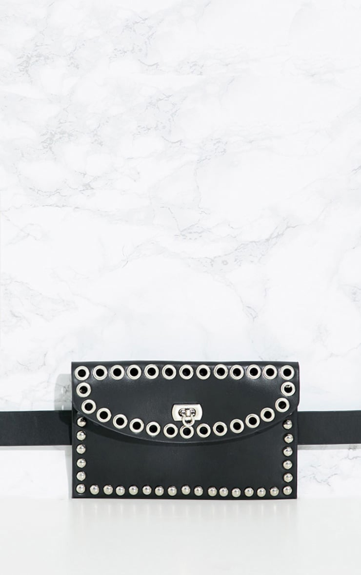 Black Studded Belted Bum Bag 4