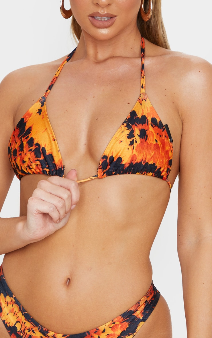Orange Feather Upside Down Triangle Bikini Top 5
