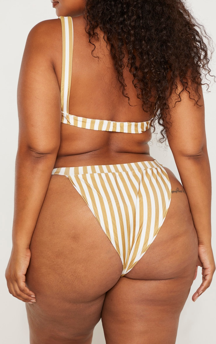 Plus Mustard Striped Bow Side Bikini Bottom 4