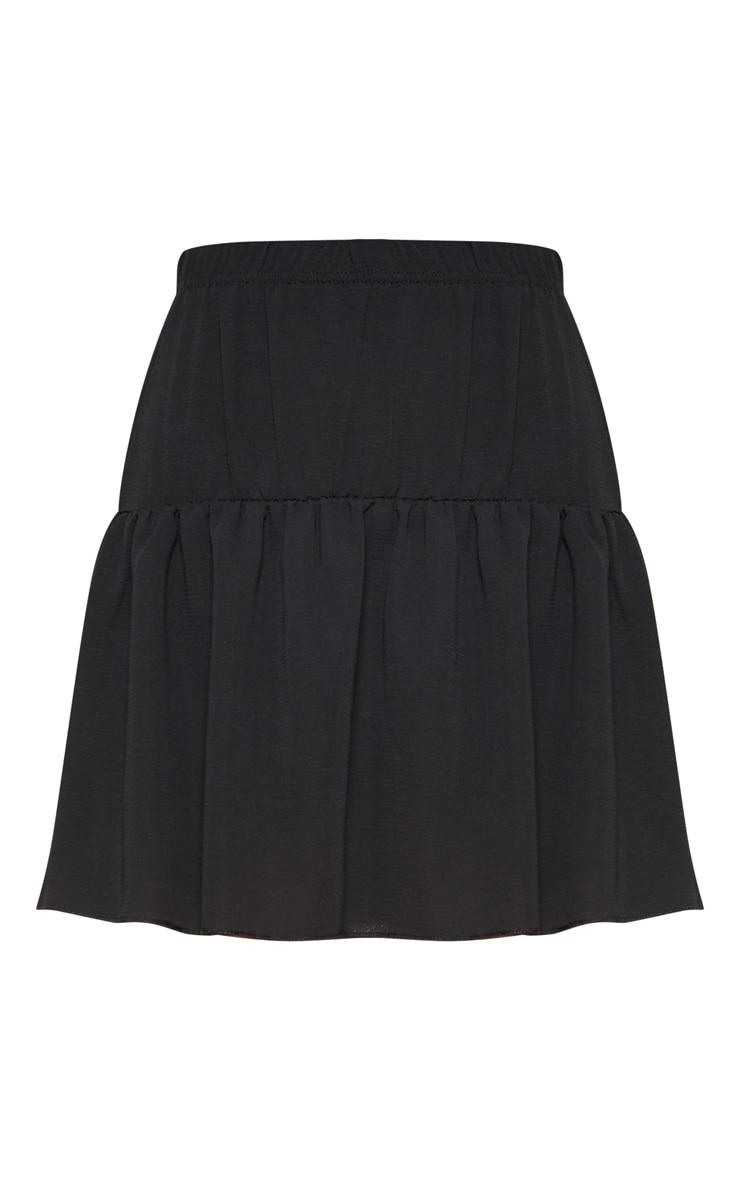 Black Chiffon Frill Hem Mini Skirt 3