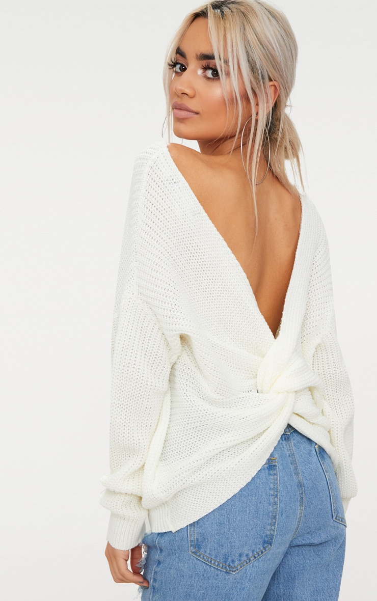 Cream Twist Back Jumper 1