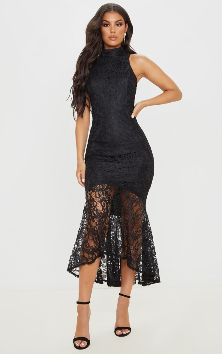 Black Lace High Neck Fishtail Midaxi Dress 1