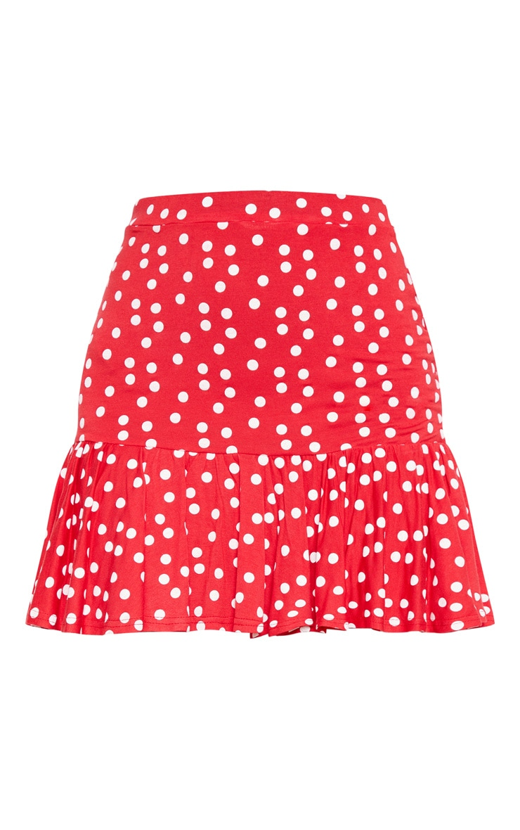 Red Polka Dot Frill Hem Mini Skirt  3