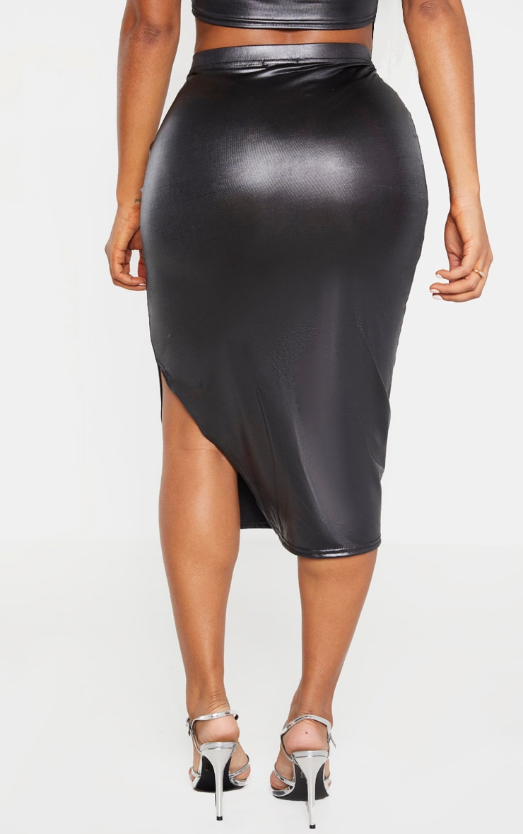 Shape Black Metallic Slinky Split Front Midi Skirt 4