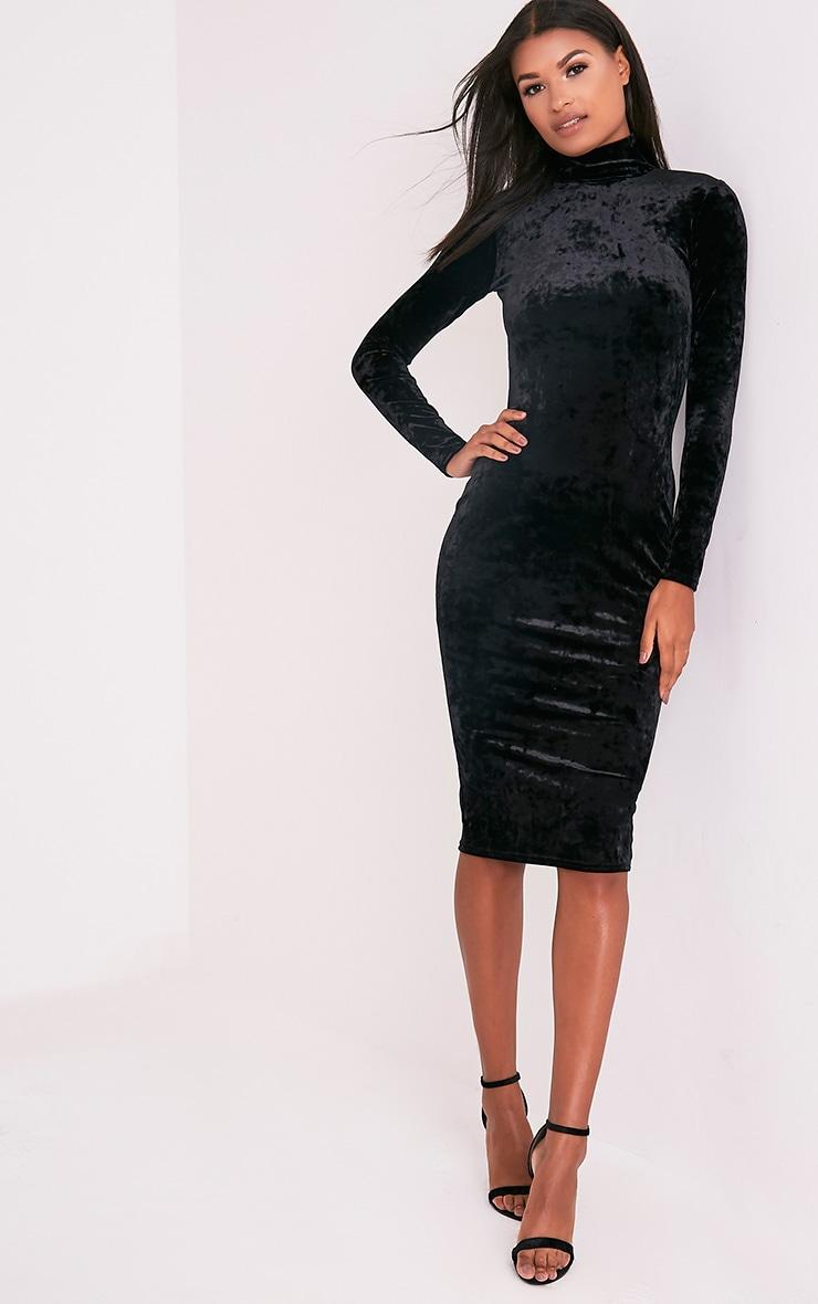Amlia Black Velvet High Neck Midi Dress 1