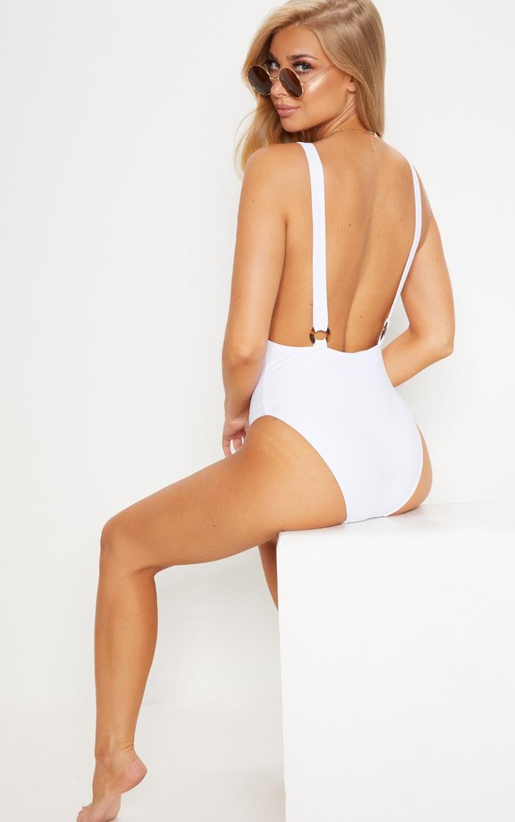 Elisha White Zip Front O Ring Back Strap Swimsuit 2
