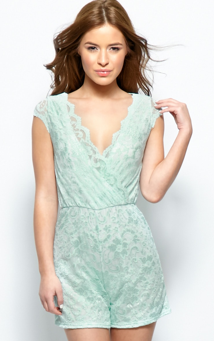 Leila Mint Lace Playsuit 1
