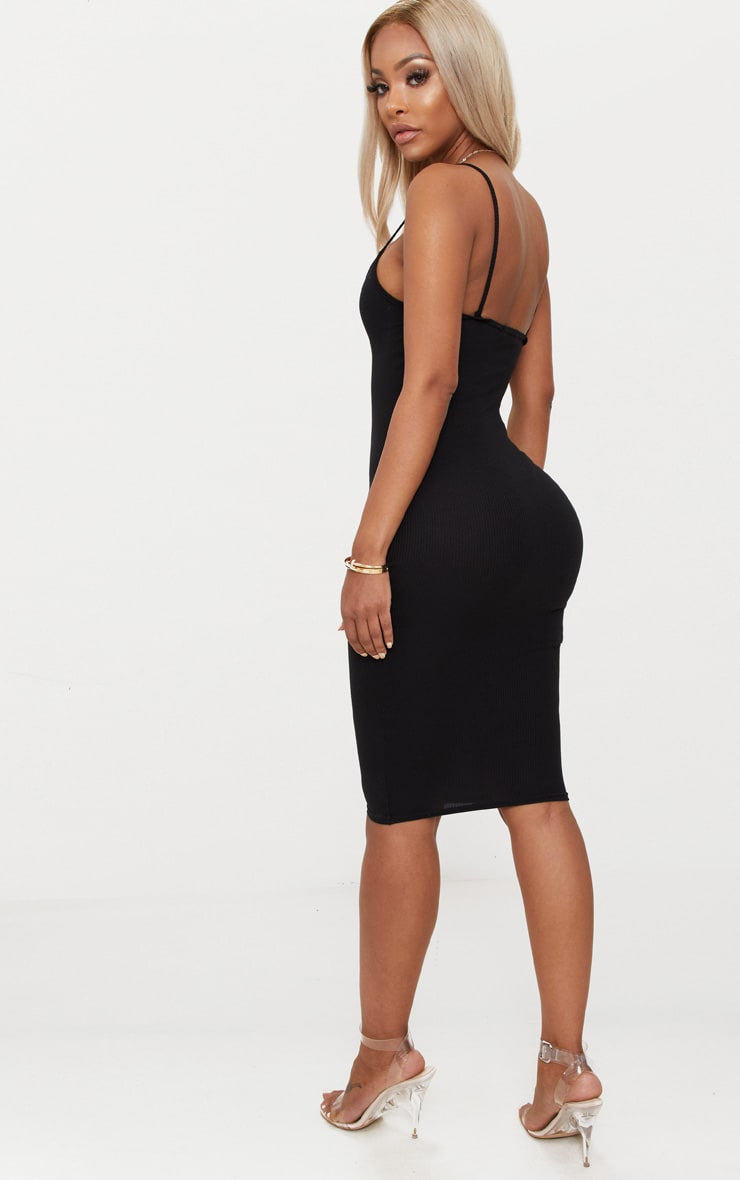 Shape Black Ribbed Strappy Midi Dress 2