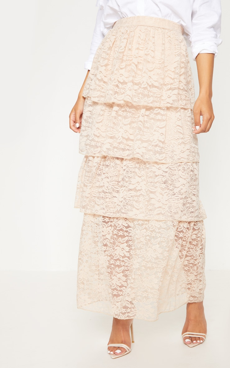 Stone Lace Tiered Maxi Skirt 2