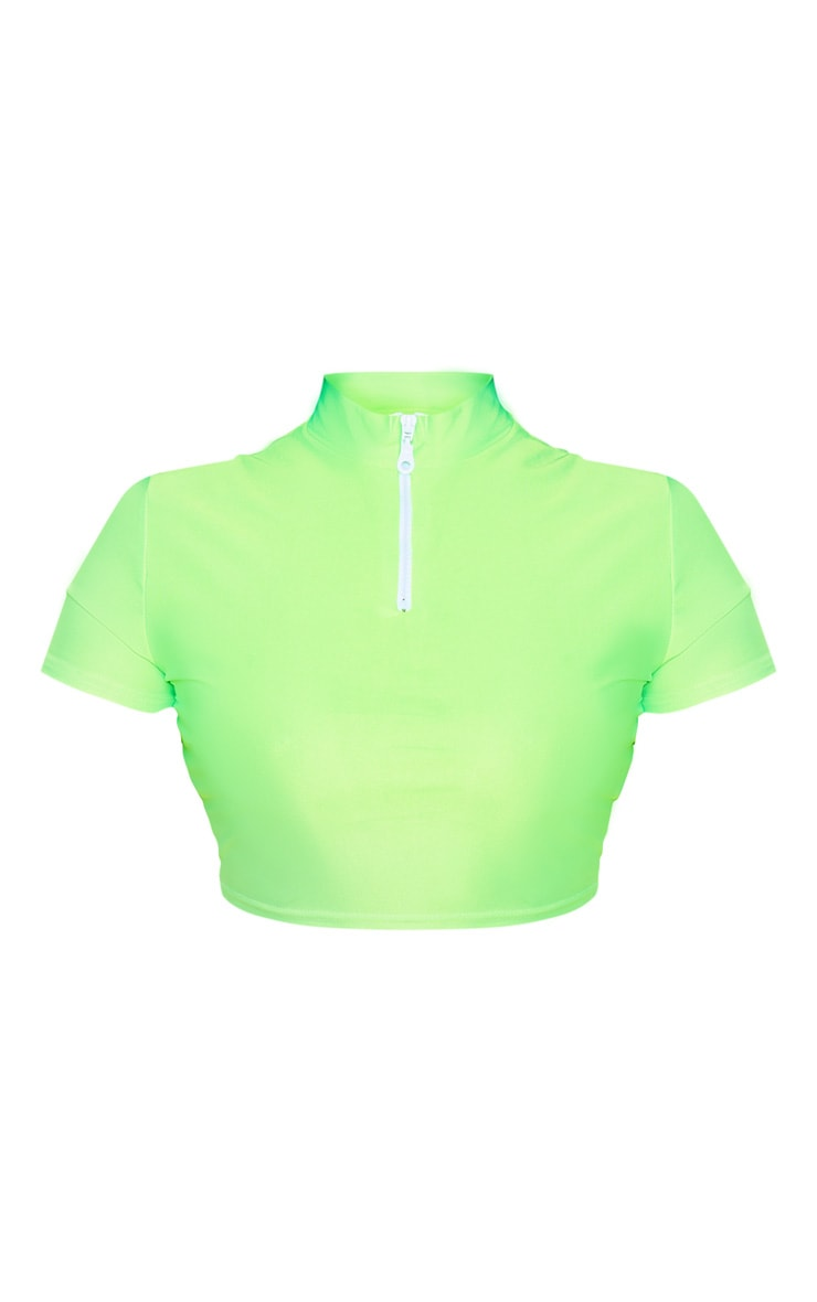 Plus Neon Green Zip Collar Short Sleeve Bikini Top 3