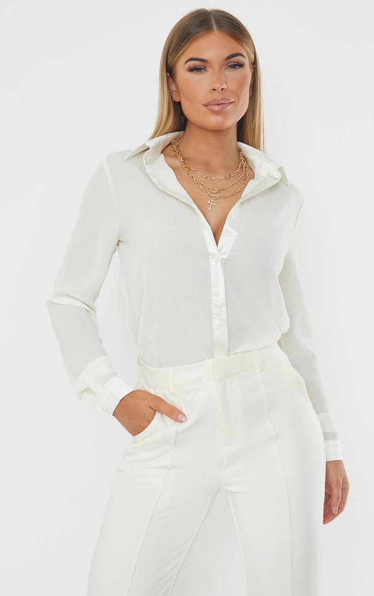 Cream Woven Crinkle Texture Shirt 1