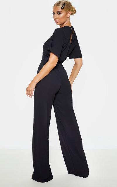 Black Twist Detail Short Sleeve Jumpsuit