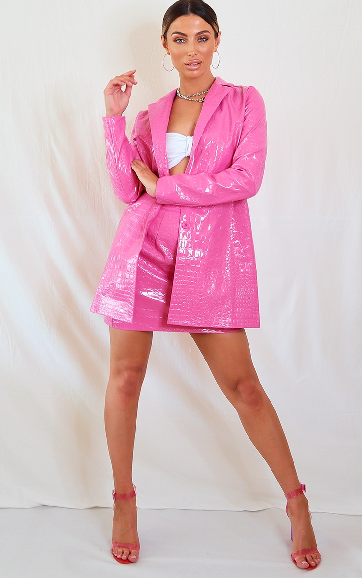 Hot Pink Croc Print Vinyl Mini Skirt 4