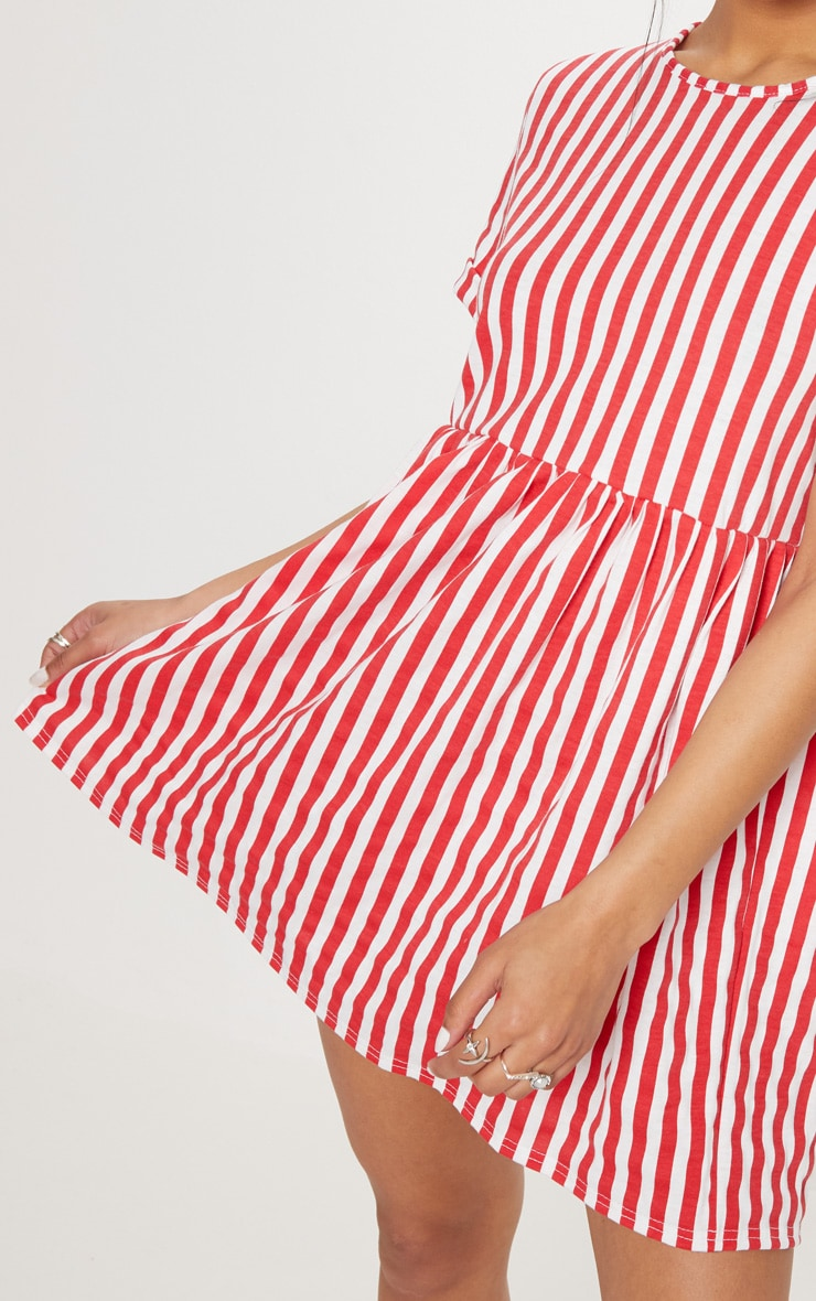 Red Stripe Print Short Sleeve Smock Dress 5
