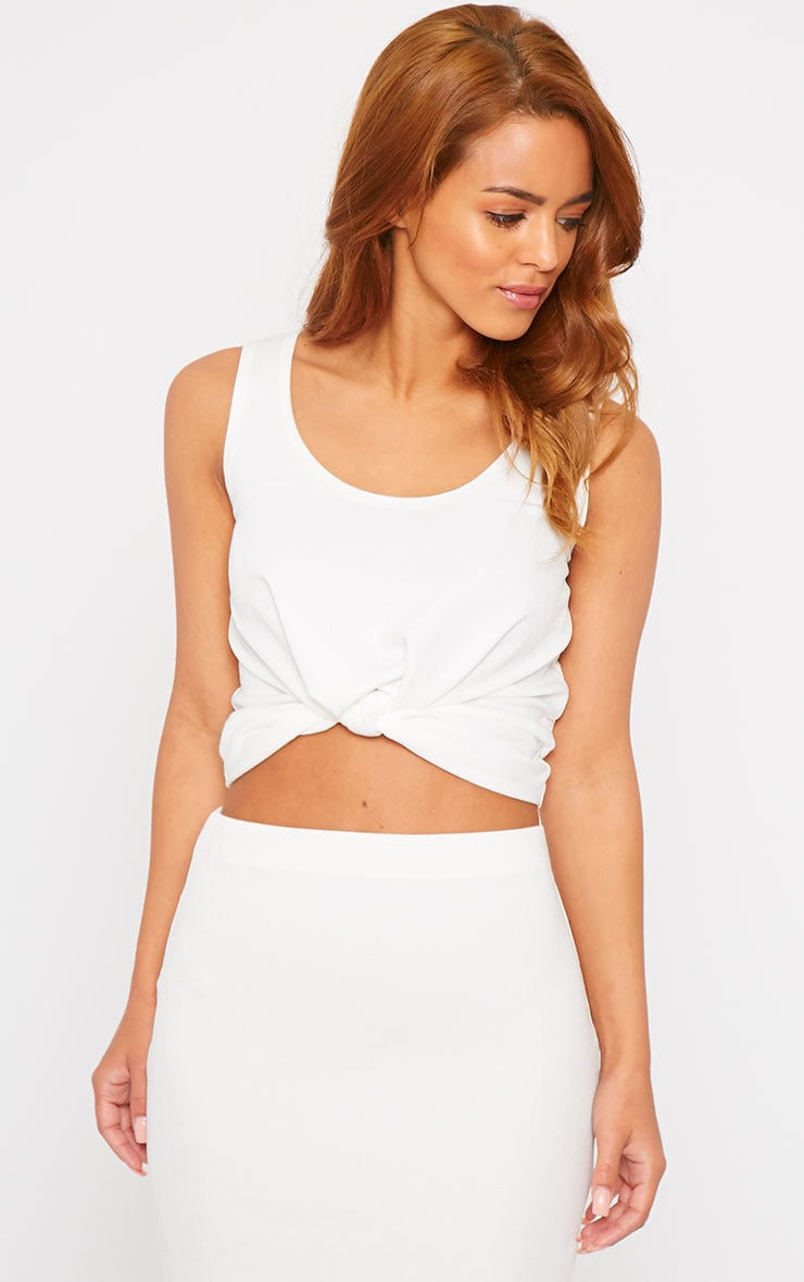 Zuri Cream Crepe Sleeveless Knot Front Crop Top 4