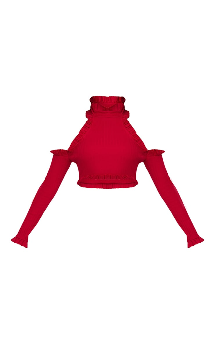 Red Ribbed High Neck Frill Cold Shoulder Crop Top 3