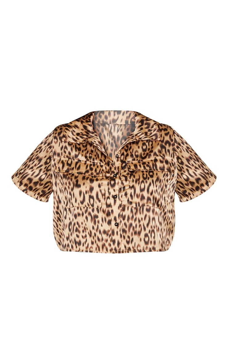 Plus Brown Leopard Pocket Detail Crop Shirt  3
