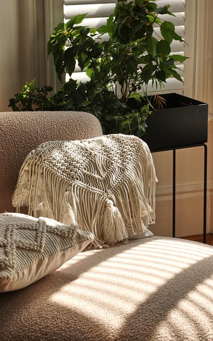 Cream Macrame Tassel Filled Cushion 1