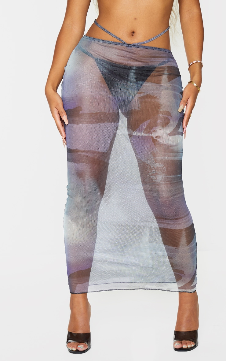 Shape Blue Smoke Print Sheer Mesh Ring Detail Midaxi Skirt 2