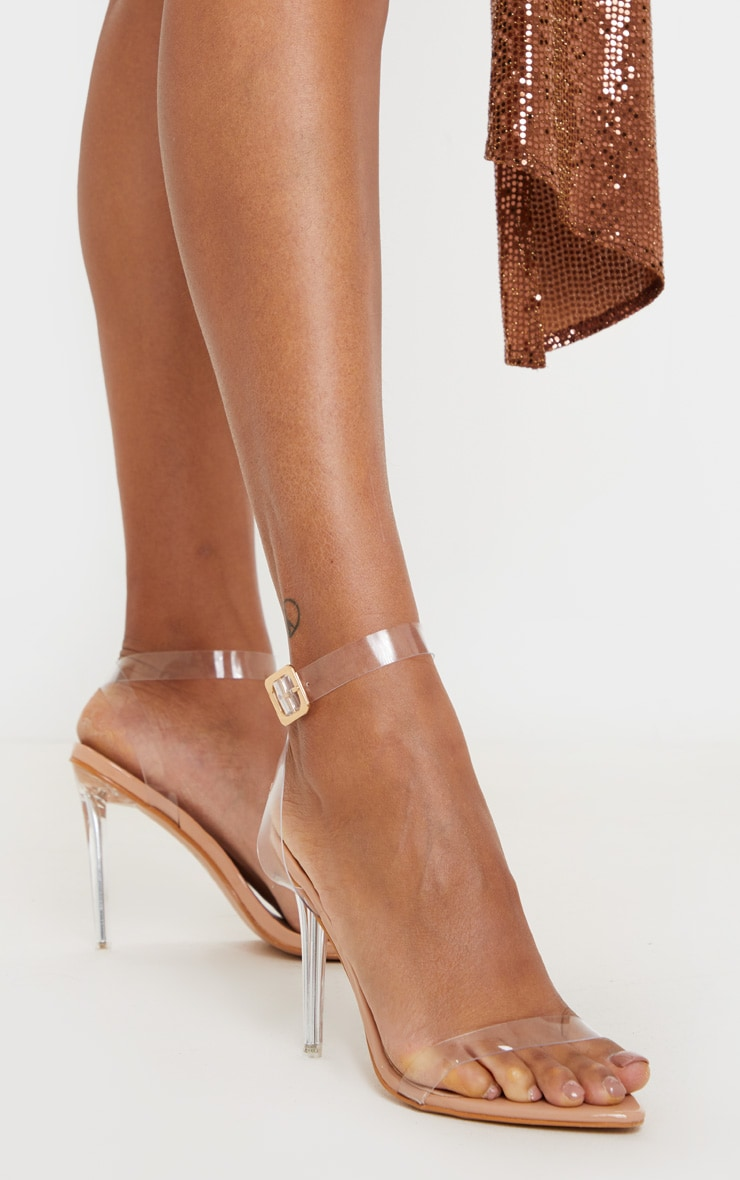 Nude Point Toe Clear Strappy Heeled Sandal 1