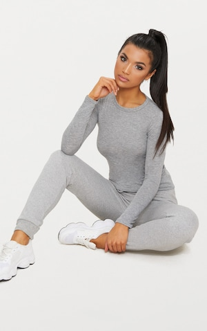 Basic Grey Marl Long Sleeve Fitted T Shirt  image 4