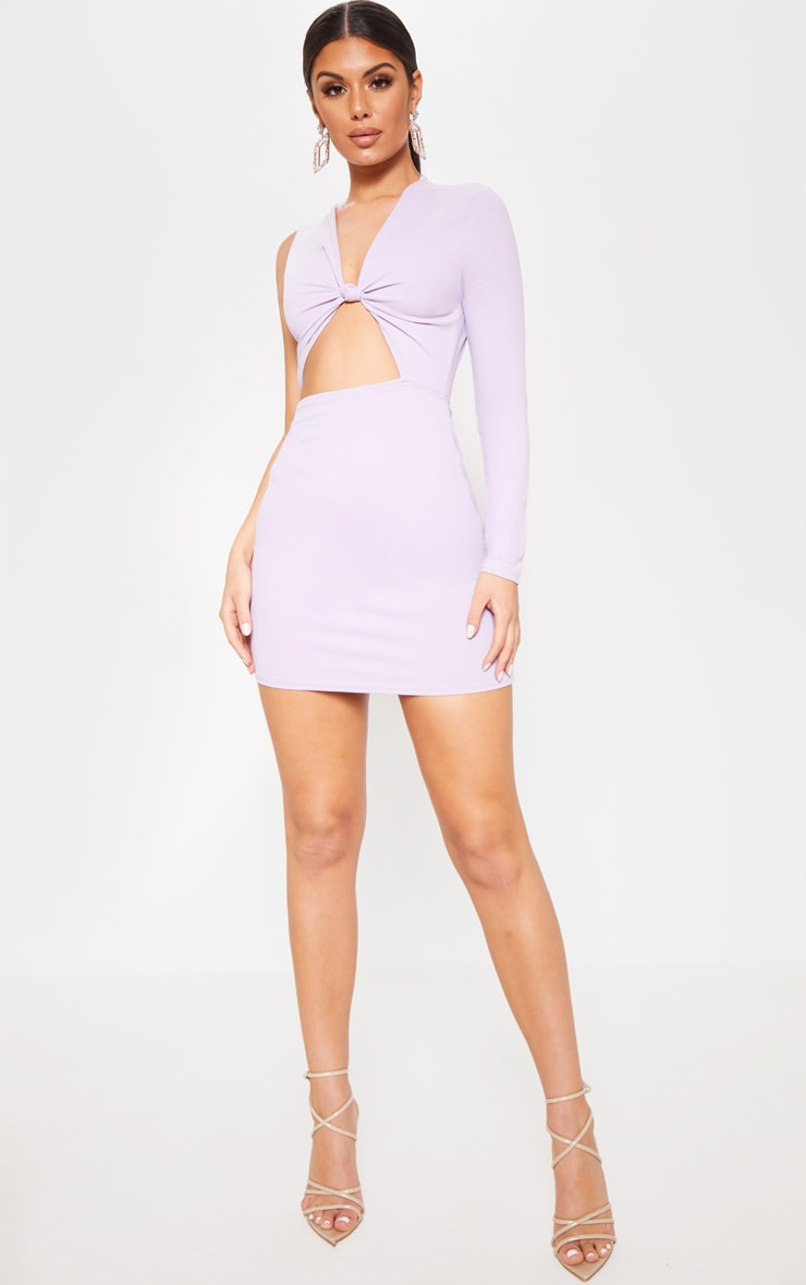 Lilac Asymmetric Knot Detail Cut Out Bodycon Dress 1