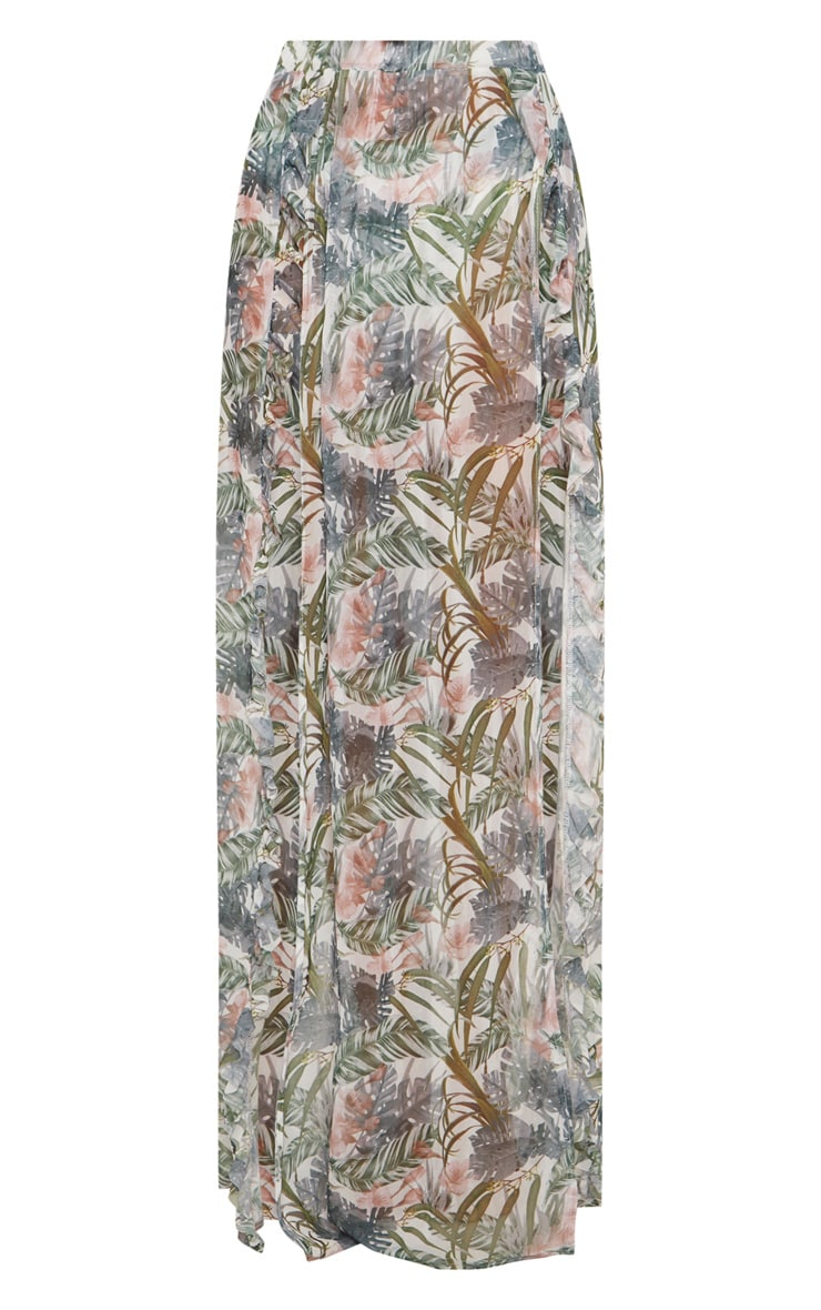 Pale Khaki Leafy Frill Split Maxi Skirt 1