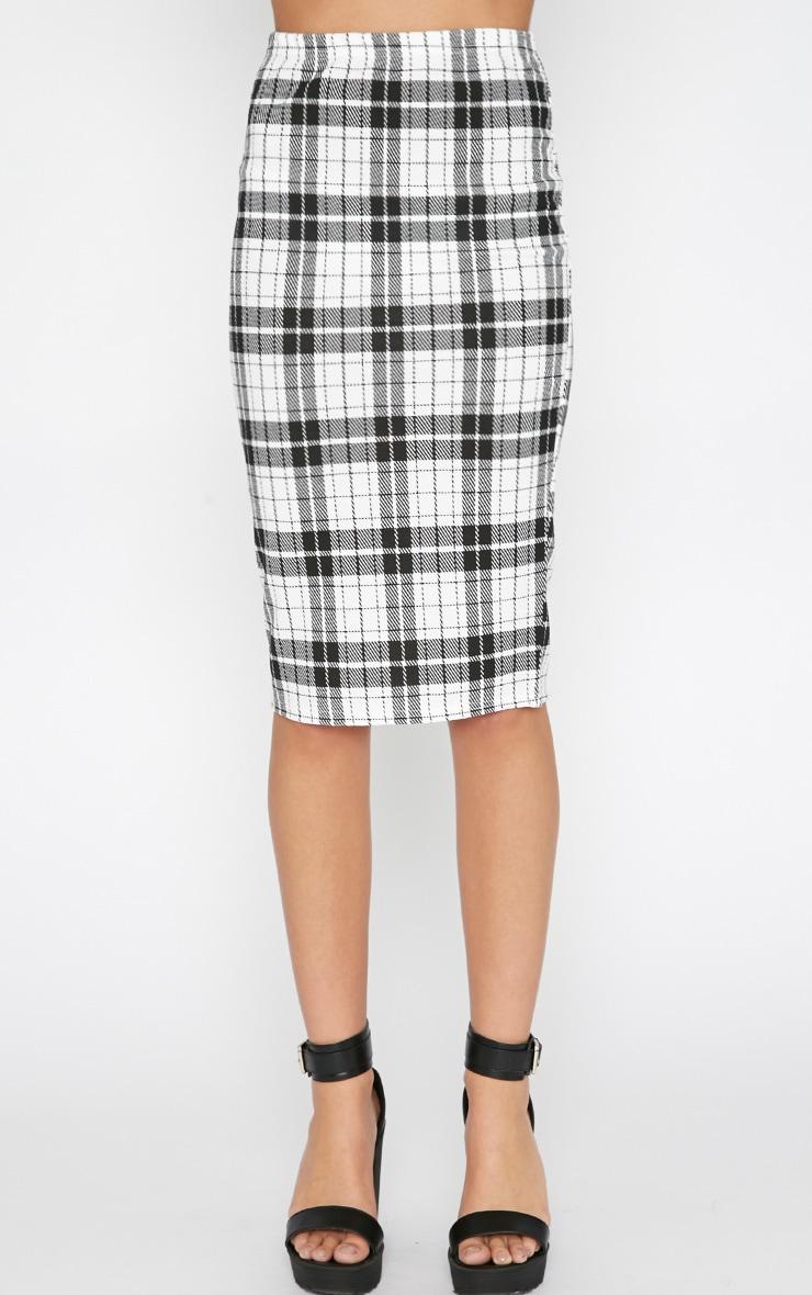 Nia Monochrome Check Midi Skirt  5