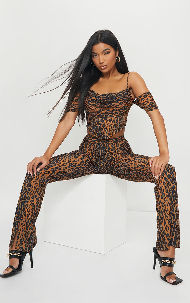 Brown Leopard Print Woven Strappy Bardot Draped Front Corset Detail Top 3