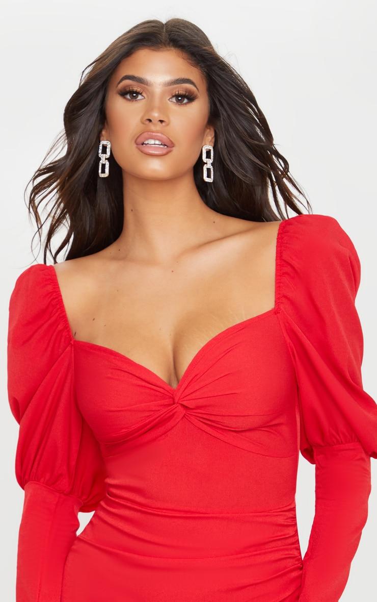 Red Puff Sleeve Twist Detail Bodycon Dress 5