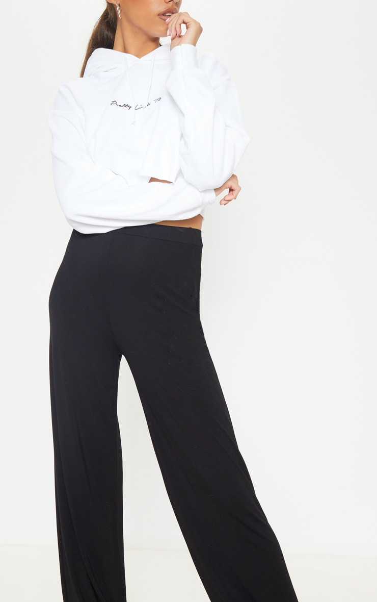 Tall Black Basic Jersey Wide Leg Pants 4