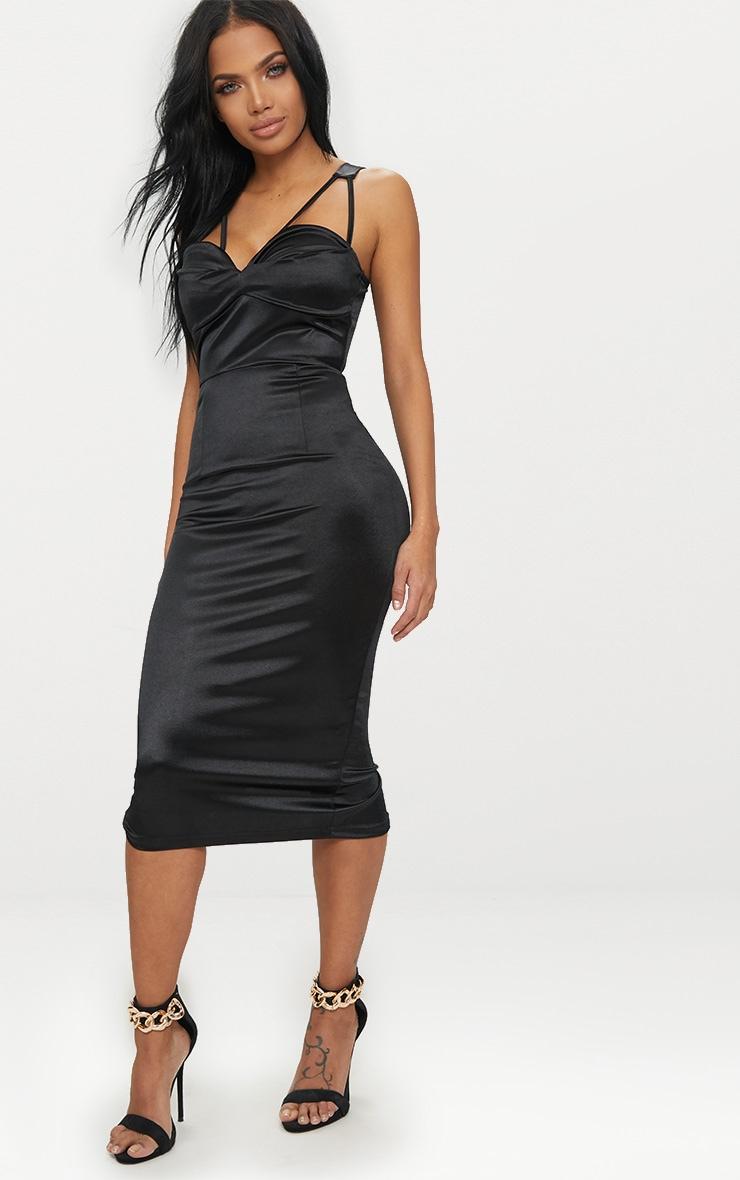 Black Strappy Folded Detail Midi Dress  4