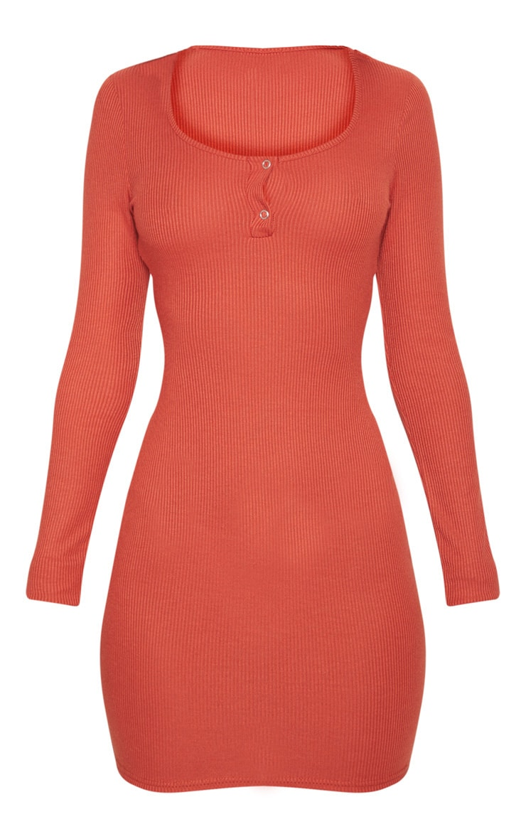 Burnt Orange Popper Detail Plunge Bodycon Dress 3