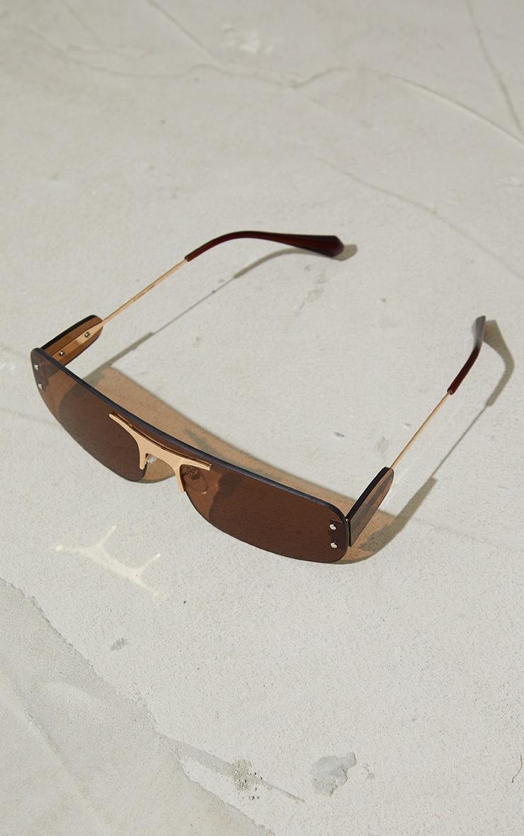 Brown Frameless Squareframe Gold Trim Sunglasses 2