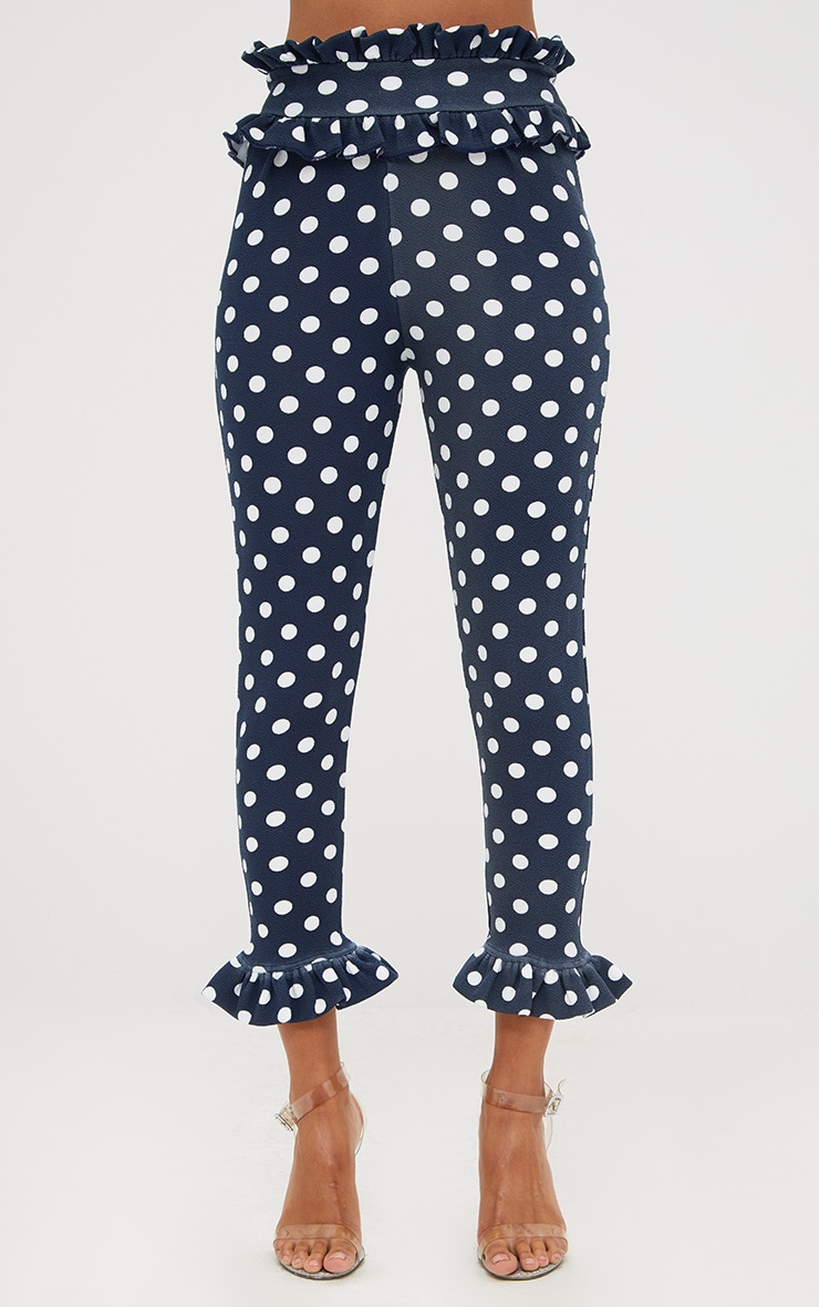 Navy Polka Dot Frill Trim Trousers 2