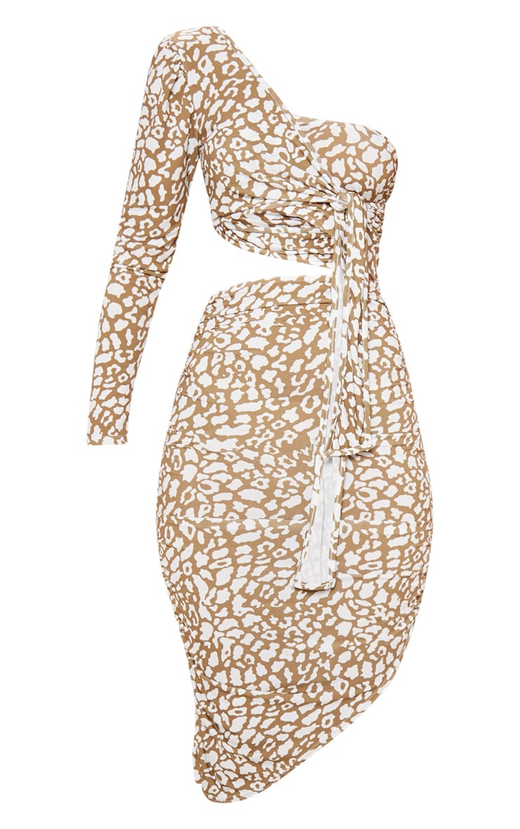Brown Leopard Print One Shoulder Cut Out Bodycon Dress 3