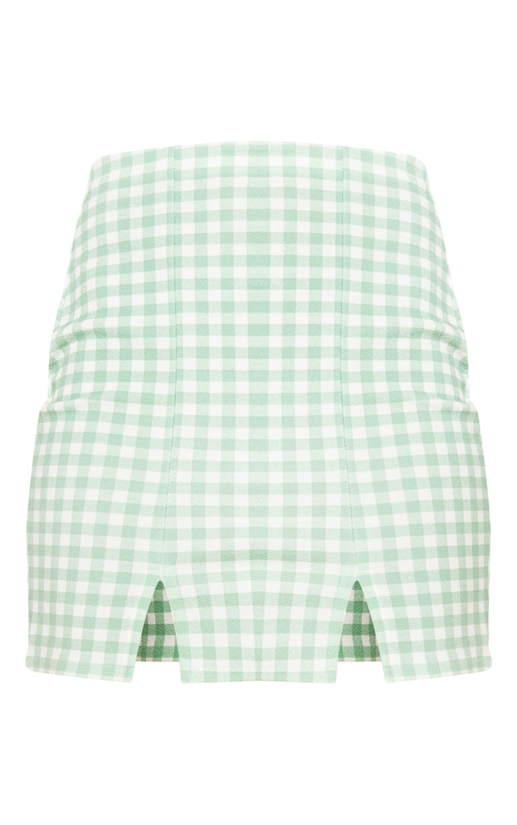 Mint Gingham Slit Front Mini Skirt  3