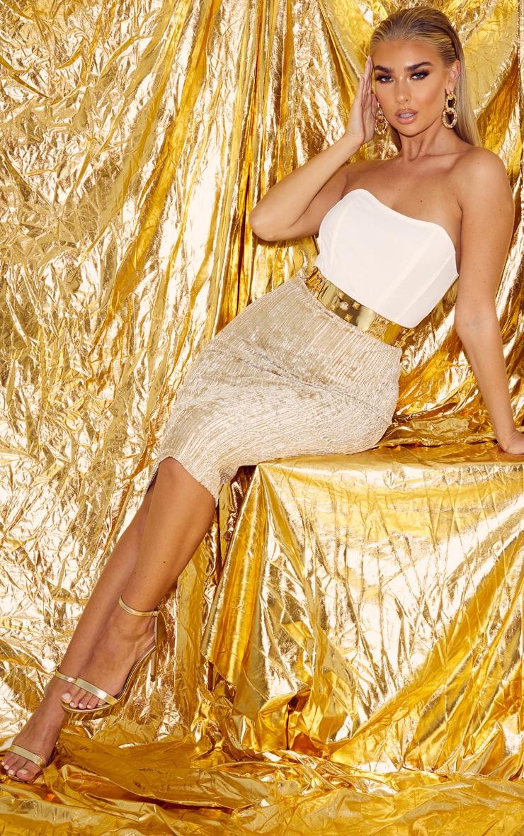 Champagne Crushed Ribbed Midi Skirt 1
