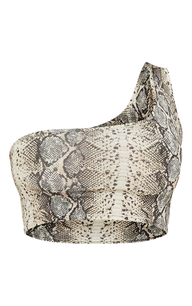 Stone Snake Print One Shoulder Crop Top 3