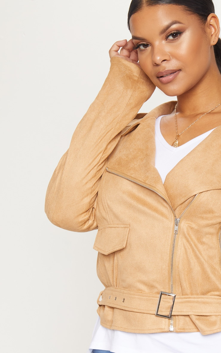 Plus Tan Faux Suede Biker Jacket 5