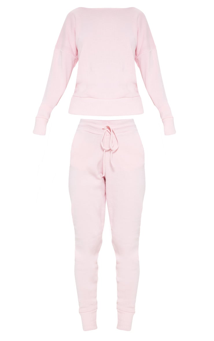 Pink Jogger Jumper Knitted Lounge Set 3