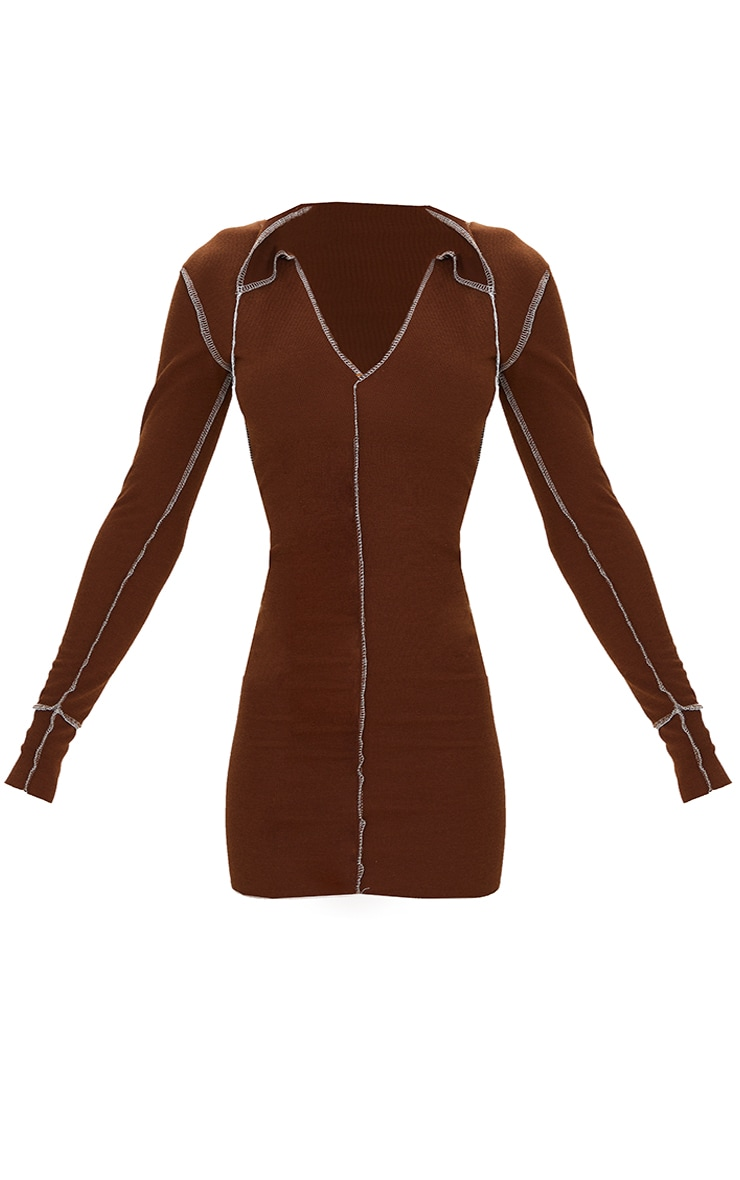 Chocolate Ribbed Contrast Stitch Plunge Collar Bodycon Dress 5