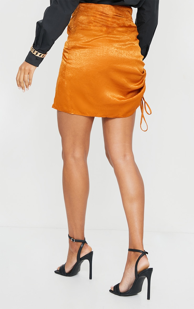 Rust Hammered Satin Ruched Detail Mini Skirt 3