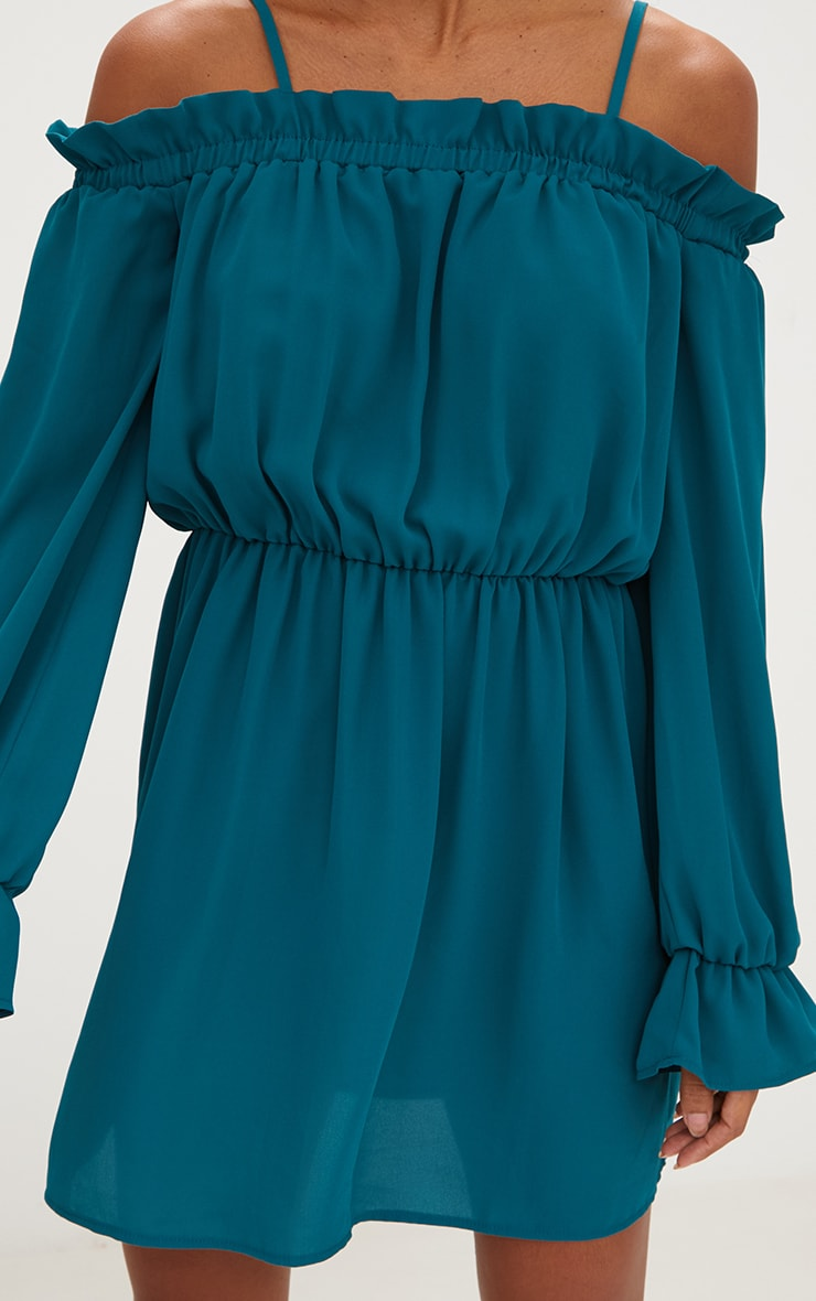 Teal Cold Shoulder Frill Shift Dress 5