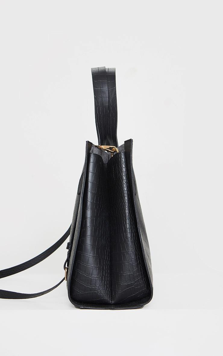 Black PU Croc Tote Bag 4