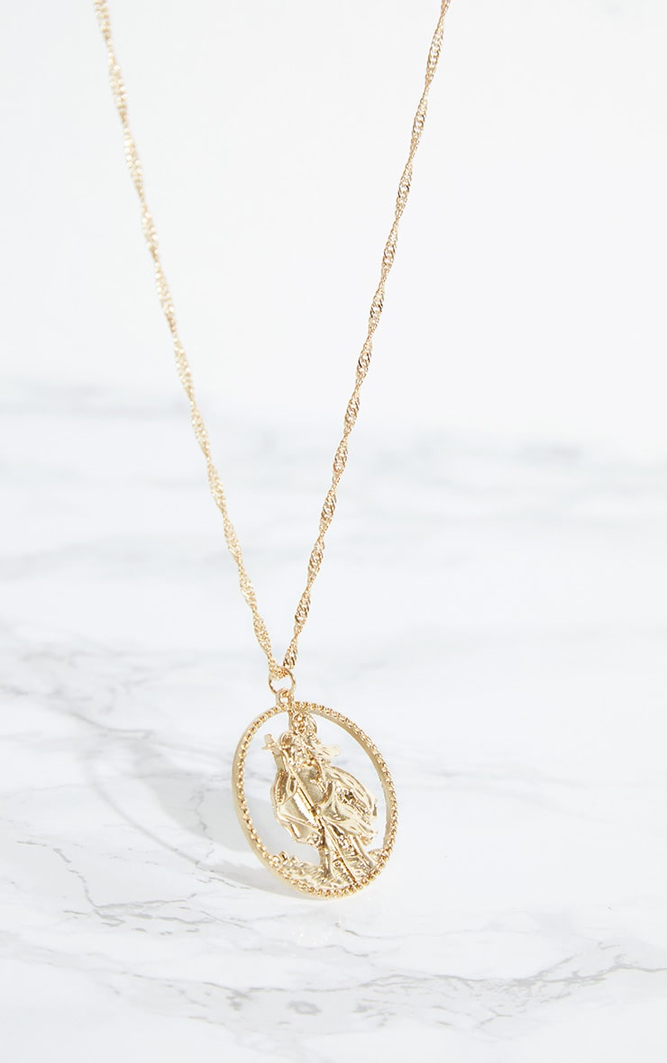 Gold Cut Out St Christopher Pendant Necklace 2