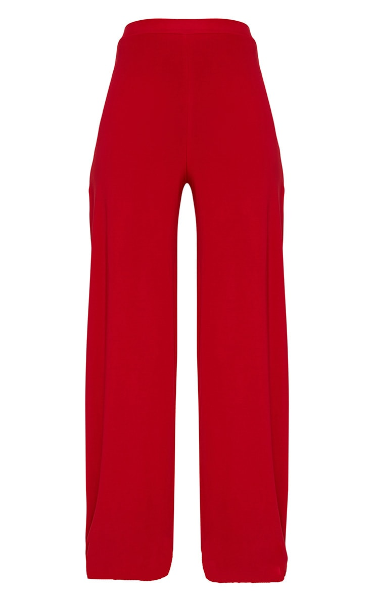 Red Split Leg Slinky Trousers 3